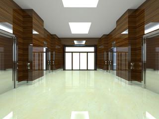 3d rendering of the elevator. Elevator doors