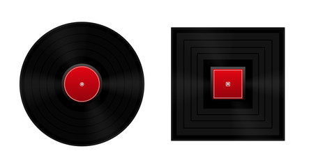 Square the circle metaphor with round and square vinyl record.