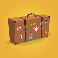 Travel Suitcase Cartoon vector Illustration