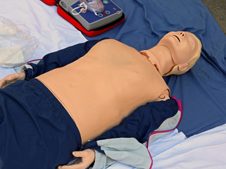 plastic mannequin during exercise of simulated rescue after car crash