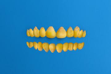Corn arranged as human teeth