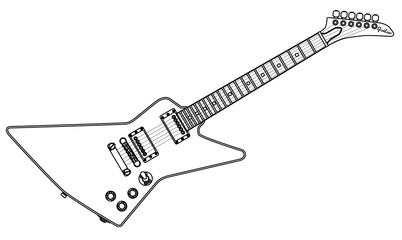 Modern Electric Guitar Outline