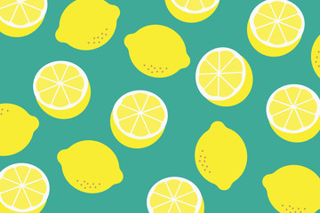 Background with a pattern of yellow lemons