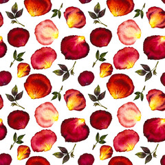 Watercolor seamless pattern of pink and red petals and leaves of roses on white background. Watercolor illustration. Design for fabric, textile, wrapping paper, card, invitation, wallpaper, web design