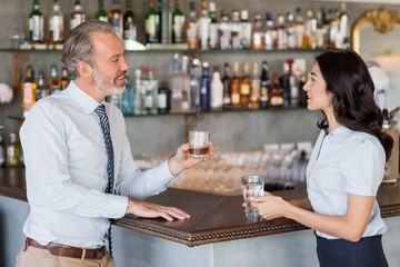 Businessman and woman standing at bar counter having drink