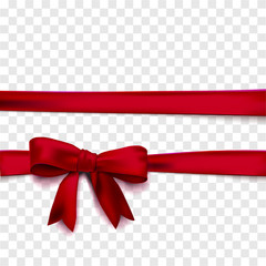 Horizontal red ribbons vector isolated with bow.
