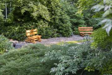 Wooden bench in the park.