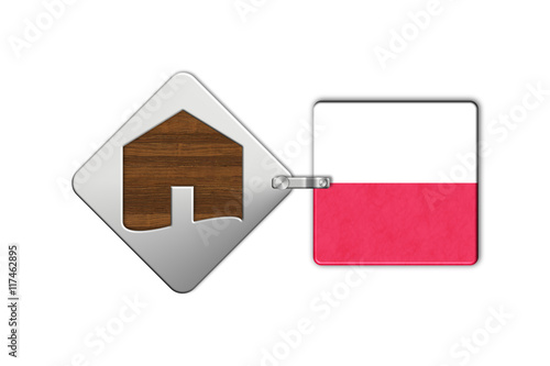 Simbolo casa 2 in acciaio e legno con bandiera polonia for Case in legno in polonia