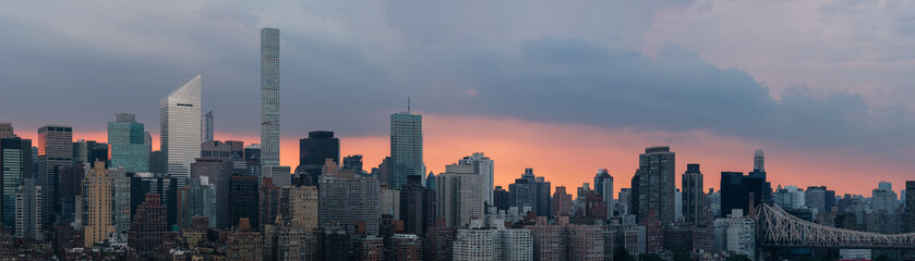 Manhattan at sunset, panoramic image