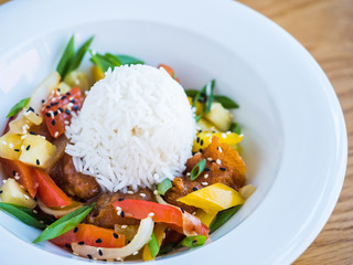 chicken in teriyaki sauce with rice and vegetables