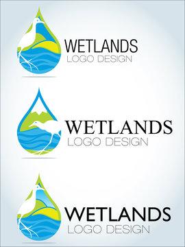 Circular logo design wetlands