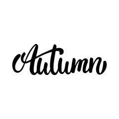 Autumn - hand drawn lettering phrase isolated on the white background. Fun brush ink inscription for photo overlays, greeting card or t-shirt print, poster design
