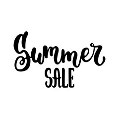 Summer sale - hand drawn lettering phrase isolated on the white background. Fun brush ink inscription for photo overlays, greeting card or t-shirt print, poster design