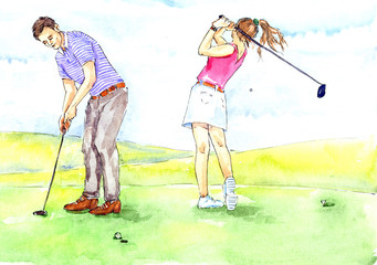 Hand painted Watercolor Illustration «Golfing»