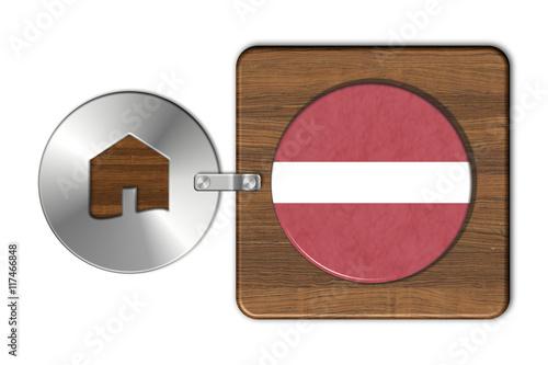 Simbolo casa in acciaio e legno con bandiera lettonia for Case in legno lettonia