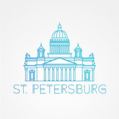 Saint Isaac's Cathedral in Saint Petersburg Russia. Modern linear minimalist icon. One line concept.