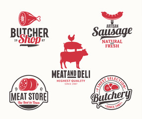 Buchery and meat products logo and design elements