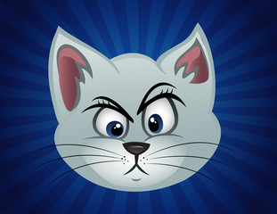 cartoon vector illustration of a cat face perplexed
