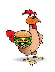 cartoon vector illustration of a chicken with hamburger