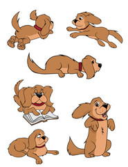 cartoon vector illustration of a fluffy dog collection