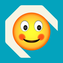 Emoticon shy face. Shy emoji. Isolated vector illustration on background. Emoji longshadow icon.