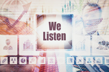 Business We Listen collage concept