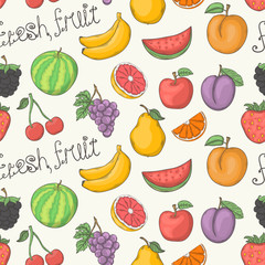 Fresh fruit vector pattern isolated on a white background