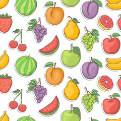 Fruit sticker seamless vector illustration.Summer seamless pattern hand draw with shadow isolated on a white background