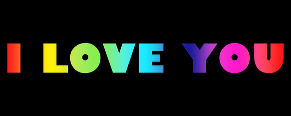 Word I Love You with colorful letters