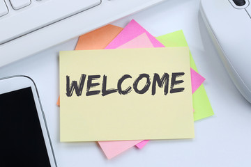 Welcome new employee colleague refugees refugee immigrants desk Wall mural