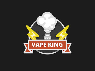 Vape badge, vaping logo, e-cigarette emblem, flat vector illustration