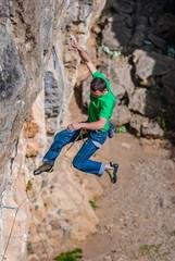 Climber fall off the rock.
