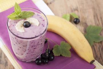 Smoothie of  banana and black currant   .