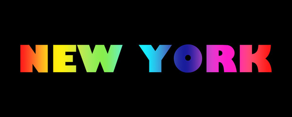 Word New York with colorful letters