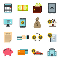 Flat credit icons set. Universal credit icons to use for web and mobile UI, set of basic credit elements isolated vector illustration