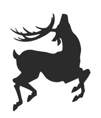 simple black silhouette of jumping deer on the white background
