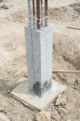 foundation post in construction site