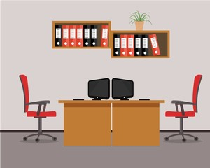 Workplace for two office workers in red colors. Vector flat illustration. There are tables, chairs, computers, folders and other objects in the picture