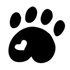 High quality original illustration of cat paw with heart isolate