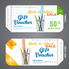 Blank of back to school gift voucher vector illustration to increase sales on white checkered and in the line background.