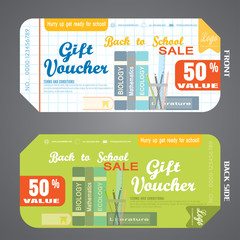Blank of back to school gift voucher vector illustration to increase sales on white checkered and green background.