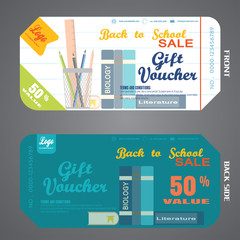 Blank of back to school gift voucher vector illustration to increase sales in the line and turquoise background.