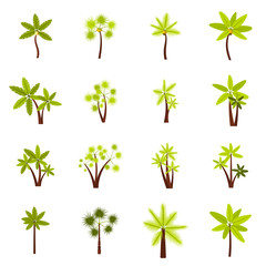 Flat tree icons set. Universal tree icons to use for web and mobile UI, set of basic tree elements isolated vector illustration