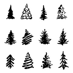 christmas tree icon brush hand made stroke ink design element silhouette