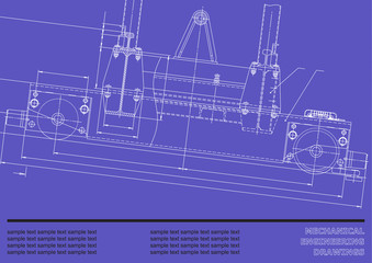 Mechanical engineering drawings on a blue background. Vector for inscriptions