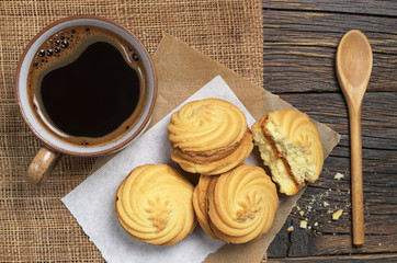Coffee cup with cookies