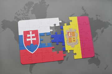 puzzle with the national flag of slovakia and andorra on a world map background.