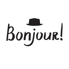 French phrase - Bonjour. Modern brush calligraphy.