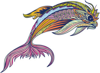 Happy dolphin with high details. Adult antistress coloring page. Black white hand drawn doodle oceanic animal for art therapy. Sketch for tattoo, poster, print, t-shirt in zentangle style