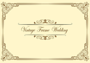 Wall Mural - Vintage ornament greeting card vector template. Retro wedding invitations, advertising or other design and place for text. Flourishes frame